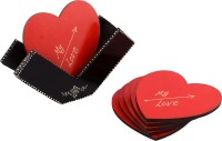 ECraftIndia Heart Wood Coaster Set Black, Red, Pack Of 6