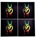 Indigo Creatives Colorful Peace Symbol Bar Glass Table MDF Coaster Set - Pack Of 4