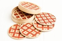 Rista Handicrafts Round Bamboo Coaster Set Maroon, Pack Of 6