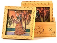 Little India Unique Gemstone Painted Square-212 Wood Coaster Set (Pack Of 7)