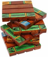 Indikala Square Wood Coaster Set Green, Brown, Pack Of 6