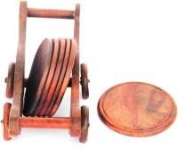 Woodpedlar Round Wood Coaster Set Brown, Pack Of 7 - COAE7PMAKVPFWPTK