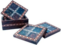 UFC Mart Antique Design Gemstone Wood Coaster Set (Pack Of 7)
