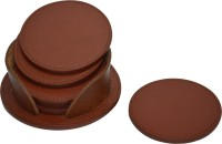Knott Round Leather Coaster Set Brown, Pack Of 6