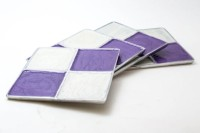 Creative Delights Cream-n-Lavender Square Aluminium Metal Coaster Set (Pack Of 4)