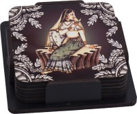Thin N Fat Queen Victoria Digital Printed Tea Wood Coaster Set (Pack Of 6)