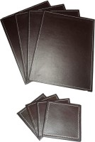 Amita Home Furnishing Rectangle Leather Coaster Set Brown, Pack Of 8