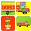 LetterNote Truck MDF Coaster Set - Pack Of 4