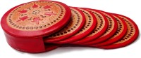 Seher Round Leather Coaster Set Red, Pack Of 6