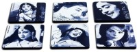 Eco Corner Bollywood Divas Medium Density Fibreboard Coaster Set (Pack Of 6)