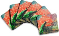India Circus by Krsna Mehta Neo Nawab Peacock Saga Medium Density Fibreboard Coasters Pack of 6