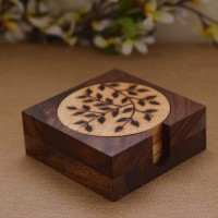 Unravel India Wooden Brown Burnt Wood Coaster Set Brown, Pack Of 7