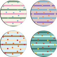 Sajawathomes Colorfull Pattern Set Of Four Design 60 Wood Coaster Set (Pack Of 4)