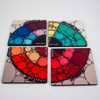 Half Horn Color Wheel Bubbles Acrylic Coaster Set (Pack Of 4)