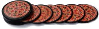Seher Round Leather Coaster Set Black, Pack Of 6