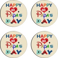 Tiedribbons Round Wood Coaster Set Multicolor, Pack Of 4 - COAE7S68MFQBMWP3