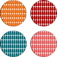 Sajawathomes Colorfull Pattern Of Four Design 43 Wood Coaster Set (Pack Of 4)