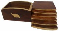 Handicraft Square Wood Coaster Set Brown, Gold, Pack Of 6
