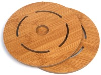 Hokipo Round Bamboo Coaster Set Brown, Pack Of 2