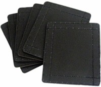 Nanson Square Leather Coaster Set Brown, Pack Of 6