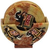 Anshul Fashion Round Marble Coaster Set Green, Pack Of 7