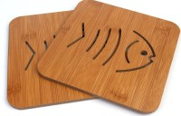 Hokipo Square Bamboo Coaster Set Brown, Pack Of 2 - COAED6CXZBAYVZGM