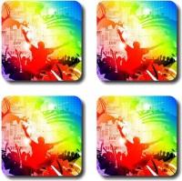 Shaildha Designer Medium Density Fibreboard Coaster Set Multicolor, Pack Of 4 - COAE6HUMFUHZEZEG