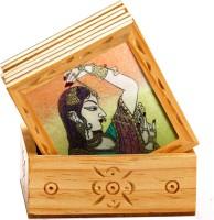 Aapno Rajasthan Royal Wood, Gemstone Coaster Set Multicolor, Pack Of 7