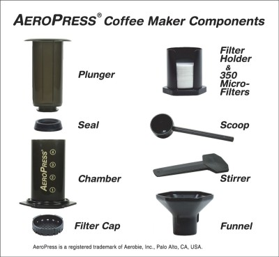 Aerobie AeroPress 4 Cups Coffee Maker (Smokey Grey Tint)