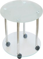 Ambience Interior Mall Coffee Table Round Glass Coffee Table (Finish Color - Silver)
