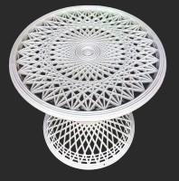 Suryaprabha Round Plastic Coffee Table (Finish Color - White)