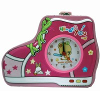 Tootpado Shoe Shaped Metal Piggy Bank with Clock & Alarm Coin Bank Pink