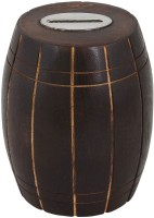 Craft Art India Handcrafted Wooden Money Bank /Piggy Bank / Coin Box In Barrel Shape Coin Bank (Brown)