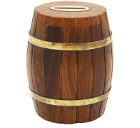 Greggs Inspired Barrel Shaped Wooden Coin Bank Coin Bank (Brown)