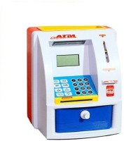 Super ATM Machine For Kids Open With Secret Password Coin Bank (White)