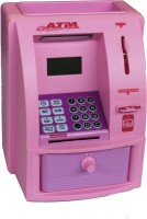 Emob Money Bank Toy With Personal ATM Card With Electronic Lock & LCD Display For Kids (Pink) Coin Bank (Pink)