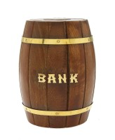 Dolphy Barrel Shaped Wooden Coin Bank (Brown)