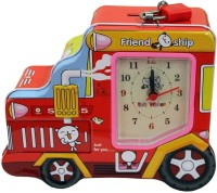 Tootpado Car Shaped Metal Piggy Bank with Clock & Alarm Coin Bank Red