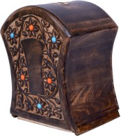 Craft Art India Handcrafted Wooden Money Bank /Piggy Bank / Coin Box In Barrel Shape With Beautiful Carving Coin Bank (Brown)