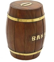 Greggs Barrel Shaped Wooden Coin Bank (Brown)