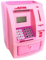 Tara Lifestyle ATM Machine For Kids Open With Secret Code Electronic Lock With Display Coin Bank (Pink)