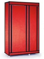MSE Leatherette Collapsible Wardrobe (Finish Color - Chilly Red)