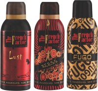 French Factor Lust, Xcess & Fugo Gold Deodorant Combo Set (Set Of 3)