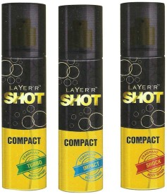 Layer'r Shot Compact Shock,Impact And Turbo Body Spray (Pack Of 3) Combo Set