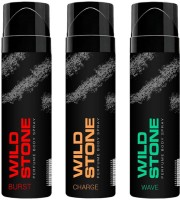 Wild Stone Burst,Charge And Wave No Gas Perfumed Deodorant Spray 120 Ml Each Combo Set (Set Of 3)