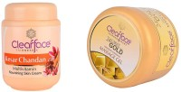 Clear Face Kesar Chandan Nourishing Skin Cream With Gold Dust Almond Oil Massage Gel (Set Of 2)
