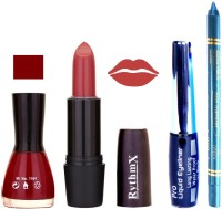 Rythmx Dark Merry Red Nail Polish Gajri Shades Lipstick With Eyeliner And Pro Non Transfer Blue Kajal 580107 (Set Of 4)