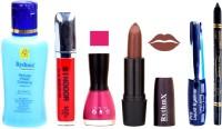 Rythmx Chaclaty Brown Lipstick Voilet Purple Nail Polish Remover Eye Liner Sindoor Black Kajal Combo Kit 9822 (Set Of 6)