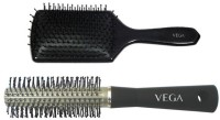 Vega Premium Paddle Hair Brush 8586 With Basic Round Hair Brush R10-Rb (Set Of 2)