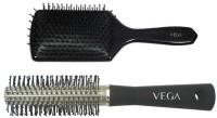 Vega Premium Paddle Hair Brush 8586 With Basic Round Hair Brush R10-Rb (Set Of 2)